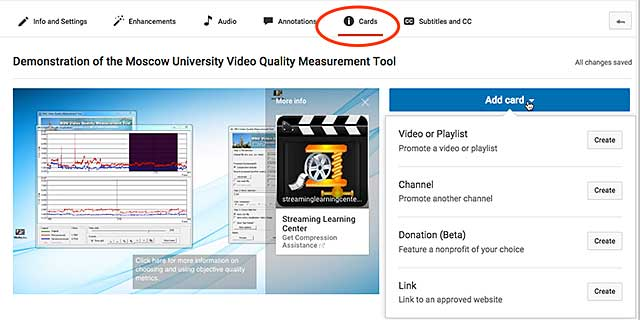 Figure 3. Adding cards to a YouTube video.
