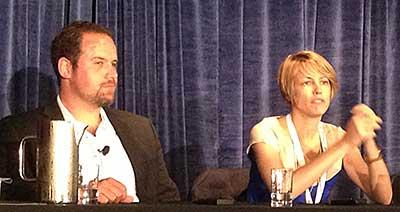 Rob Sandie of VidIQ and Vanessa Pappas of YouTube.