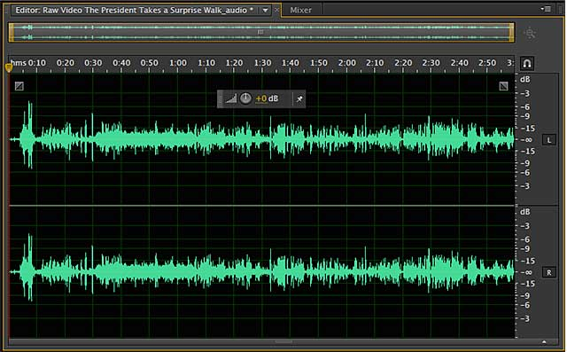 Inadequate levels in this audio file.