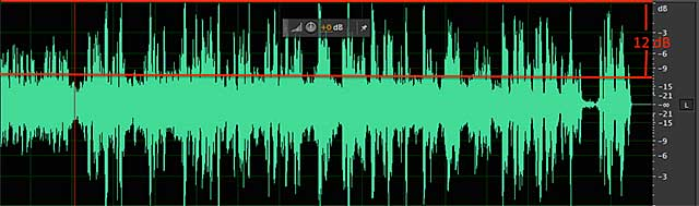 Only a 12 dB difference between the peaks in the background music file and the peaks of the narration.