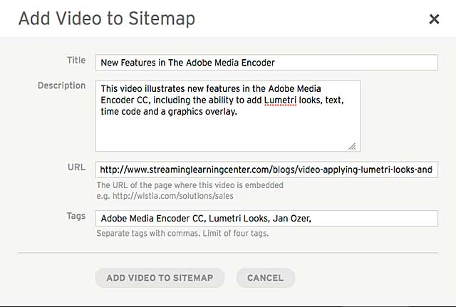 Figure 4. Adding a video to your video sitemap.