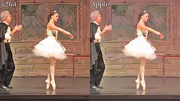 Figure 1. The x264 codec on the left, Apple on the right in this HD test clip.