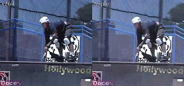 Figure 2. The x264 codec on the left, Apple on the right in this SD clip.