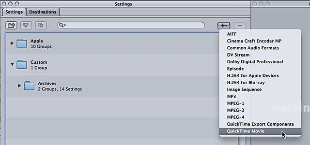 Figure 3. Creating a new QuickTime Movie Setting.