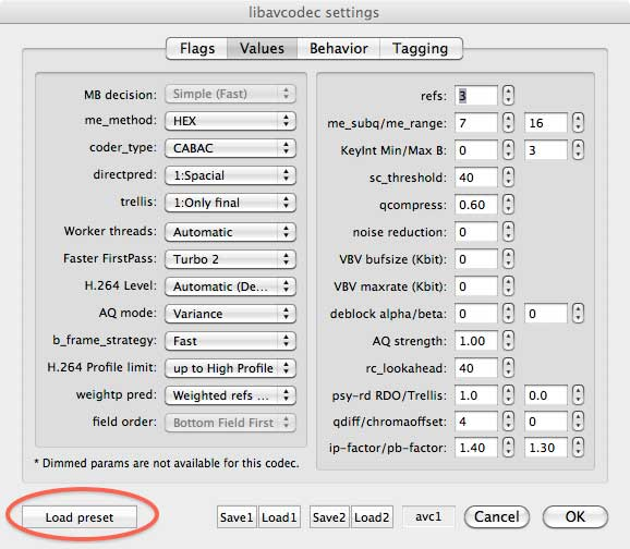 Figure 5. The libavcodec settings dialog with the myriad options enabled by the x264Encoder.