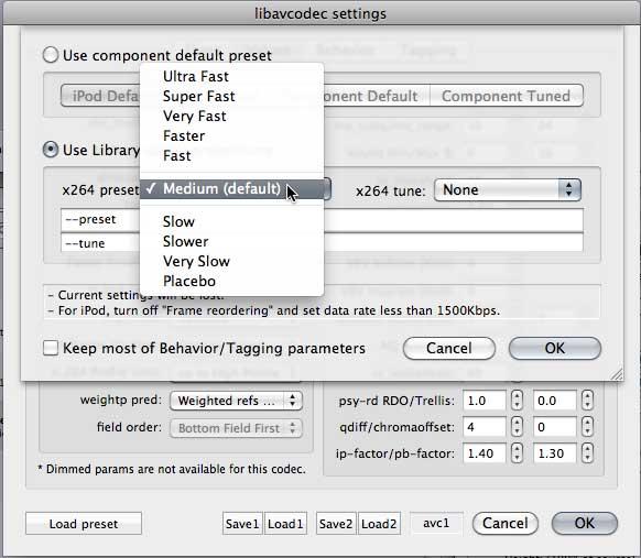 Figure 6. Choosing an encoding preset.